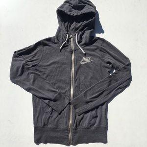 Nike Heather Dark Gray Zip Up Jacket Hooded SM